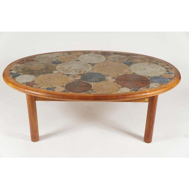 Danish Modern Teak Tue Poulsen Ceramic Art Tile Coffee Table by Haslev 1960s Made in Denmark For Sale - Image 3 of 12