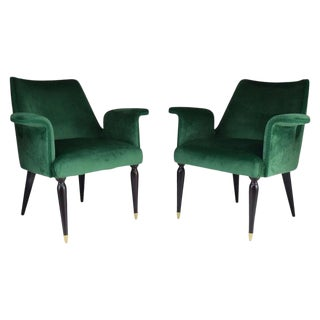 20th Century Pair of Italian Armchairs by Osvaldo Borsani, 1940s For Sale
