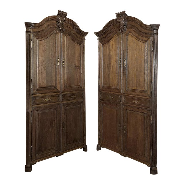 18th Century French Louis XVI Corner Cabinets - a Pair For Sale