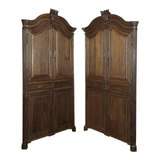 Pair 18th Century French Louis XVI Corner Cabinets For Sale