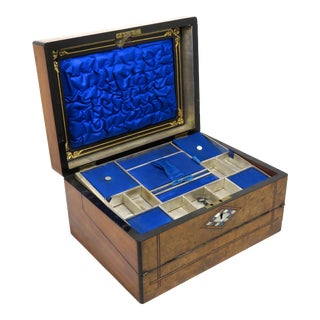 19th Century Victorian Burl Wood Lap Desk Box For Sale