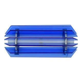 Veca Blue Mid-Century Modern Glass Chrome Wall Sconce, Light Fixture Italy For Sale