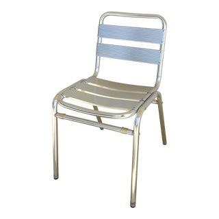 Aluminum Industrial Slat Back & Seat Stacking Chairs For Sale