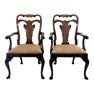 Pair Antique English Walnut Arm Chairs. For Sale