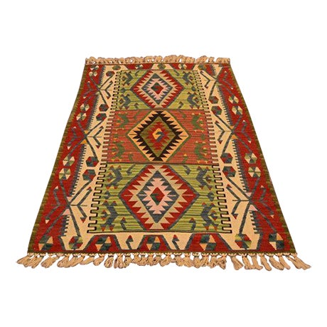 "Turkish Handmade Anatolian Kilim Wool Rug - 3'7"" X 6'2"" For Sale"