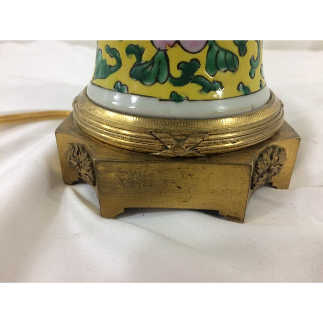 Art Deco Imperial Yellow Chinese Export Lamp with Mounted Bronze Base For Sale - Image 3 of 7