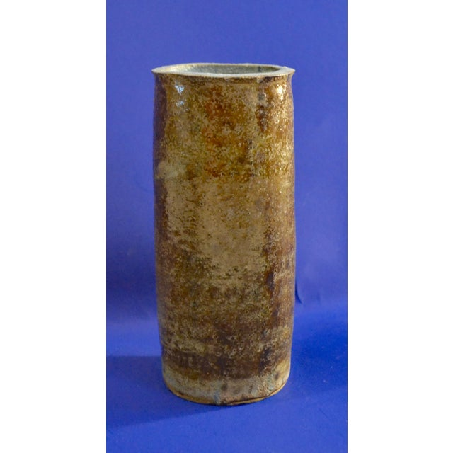 Vintage Hand Thrown Studio Earthy Toned Pottery Cylindrical Vase - Image 6 of 10