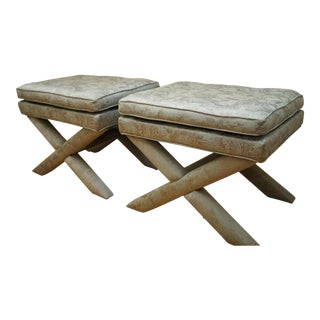 Vintage Billy Baldwin Style X-Base Bench Stool Ottomans- a Pair For Sale