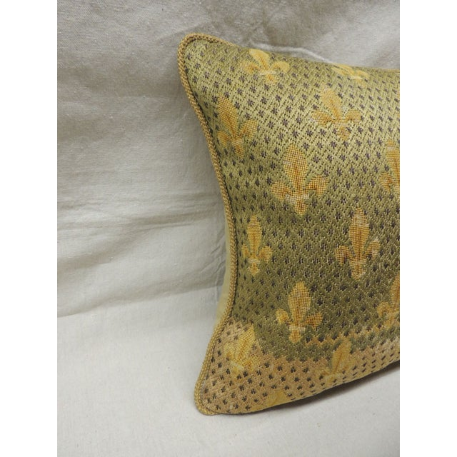 Antique textile fleur de lis embroidery tapestry pillow with wool and silk. Encrusted metallic threads. Golden silk...