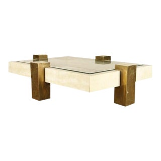 Bronze and Parchment Covered Coffee Table For Sale