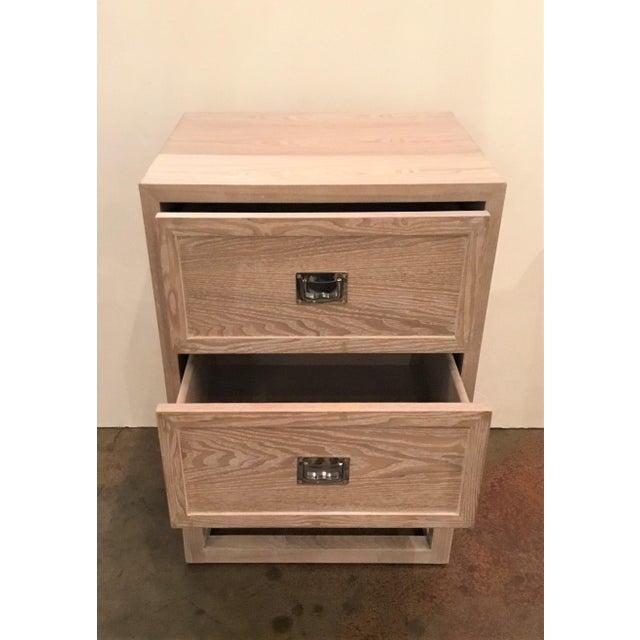 Beautiful natural two drawer cerused oak side table with nickel hardware, showroom floor sample, original retail $1755