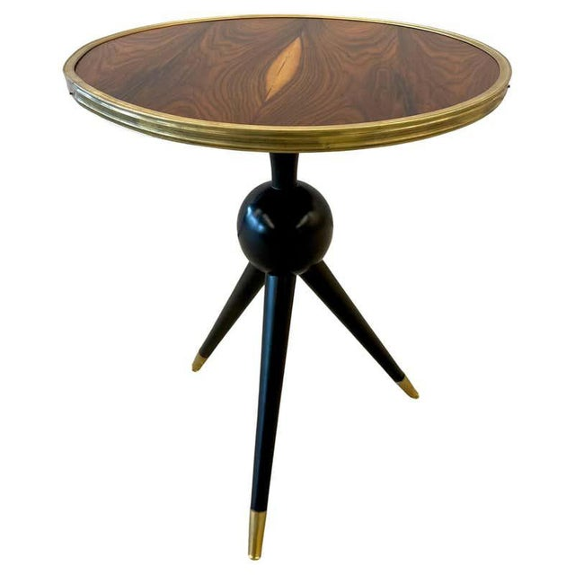 Mid-Century Modern Style End / Lamp Table Ebony Bronze Base and Rosewood For Sale - Image 13 of 13