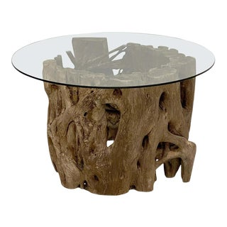 French Low Coffee Table on Rustic Mangrove or Driftwood Base For Sale