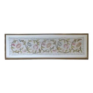 Vintage Framed Floral Needlework Panel For Sale