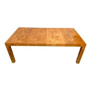 Modern Burlwood Dining Table Att. To Milo Baughman For Sale