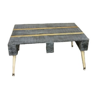 Mid-Century Modern Industrial Recycled Wood Inlayed Coffee Table