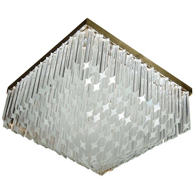 Metal Mid-Century Modernist Crystal Flush Mount Chandelier by Camer For Sale - Image 7 of 7