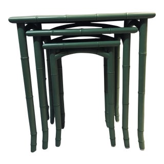 Bamboo Green Custom Painted Nesting Tables - Set of 3 For Sale