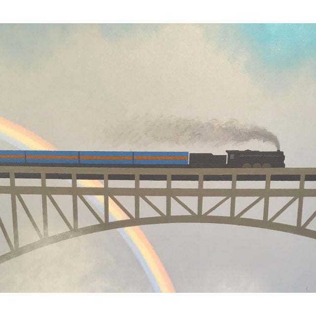 The Blue Train at Victoria Falls. Original painting used as an illustration for TRAINS, a nonfiction picture book for...