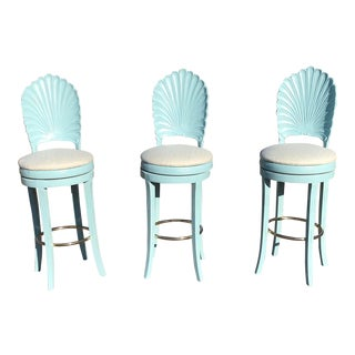 Vintage Italian Grotto Shell Back Barstools - Set of 3 For Sale