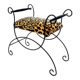 Mid-Century Hollywood Regency Leopard Velvet Empire Style Vanity Bench For Sale