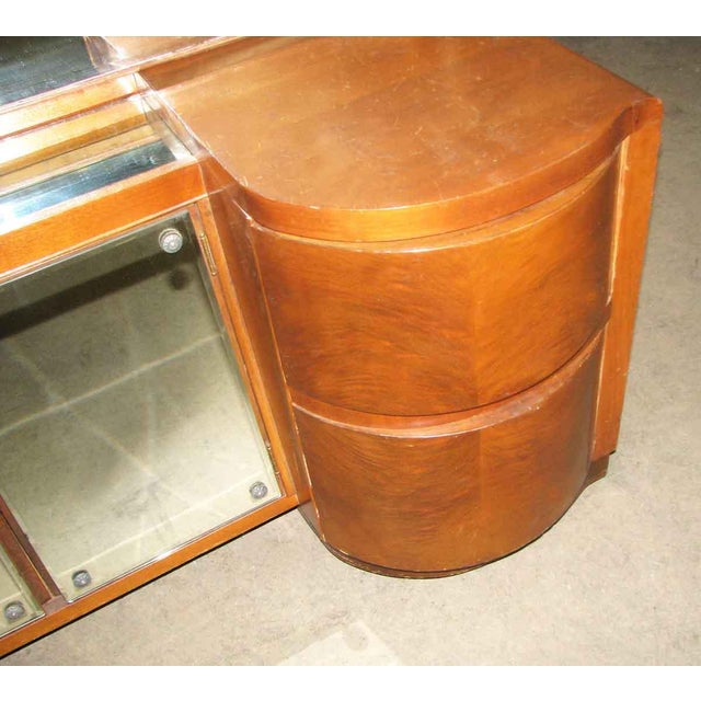 Art Deco Art Deco Curved Drawers Vanity and Mirror For Sale - Image 3 of 10