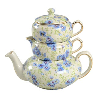 Lord Nelson Pansy Chintz Mini Tea Pot, Creamer, Sugar Stacking Set For Sale