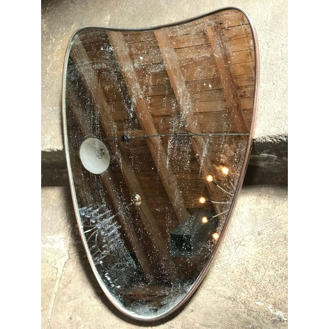 Italian Minimal Curvilinear Brass Mirror, 1950s For Sale - Image 4 of 9