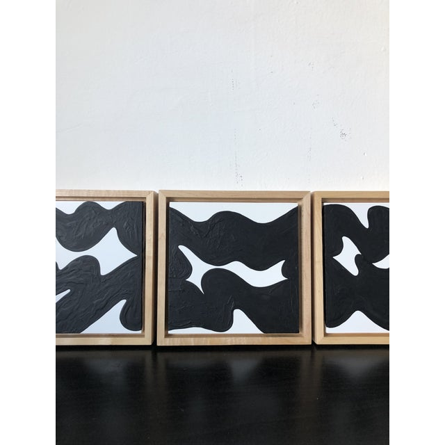 2010s Wave Runner Abstract Black and White Framed Triptych For Sale - Image 5 of 7