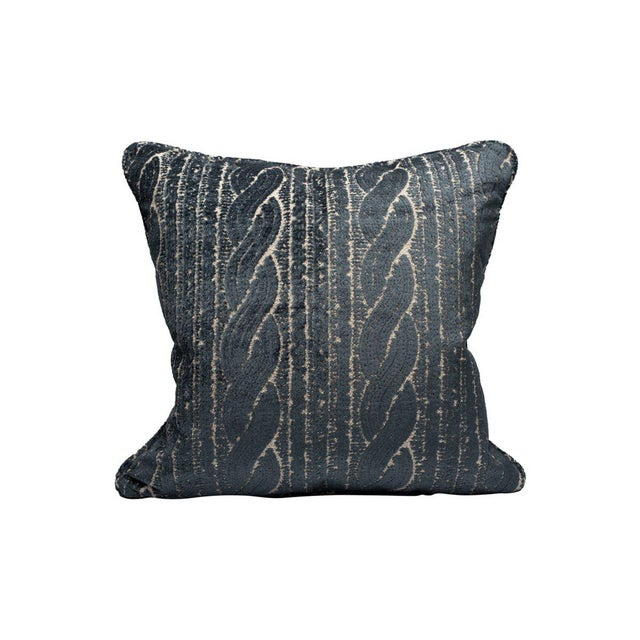 Transitional Scalamandre Sweater Pillow, Denim For Sale - Image 3 of 3