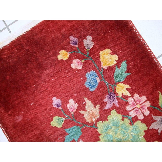 1920s Hand Made Antique Art Deco Chinese Rug - 2′ × 2′10″ For Sale - Image 9 of 10