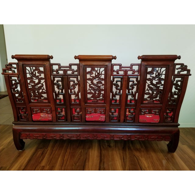 Vintage Mid Century Asian Carved Rosewood Settee For Sale - Image 4 of 12