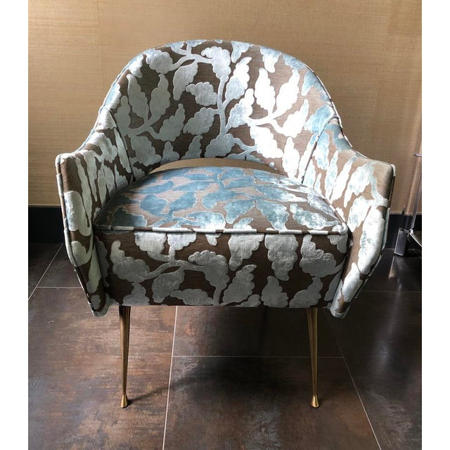 I purchased these two beautiful light blue pattern velvet mid-century side chairs from 1st Dibs in NYC a few years ago....