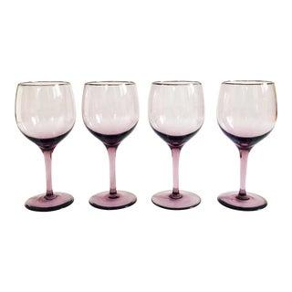 Vintage Silver Rimmed Purple Wine Glasses - Set of 4 For Sale