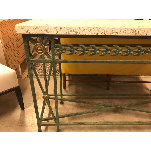 Late 20th Century Coral Stone Top, Verdigris Wrought Iron Console, W/ Brass Accents For Sale - Image 5 of 8