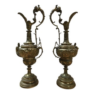 19th Century Bronze Candleholders - a Pair