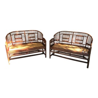 Vintage Bamboo & Cane Seat Settees - A Pair