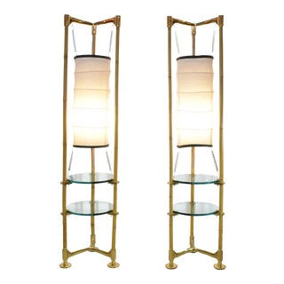 Two Vintage Brass Bamboo Floor Lamps, Gabriella Crespi Style, 1970s For Sale