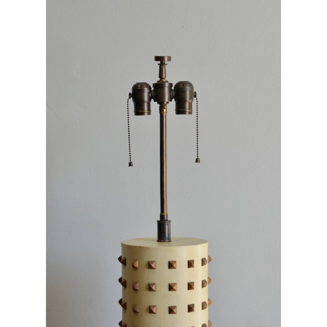 Modern Large Studded Cylinder Table Lamp For Sale - Image 3 of 7