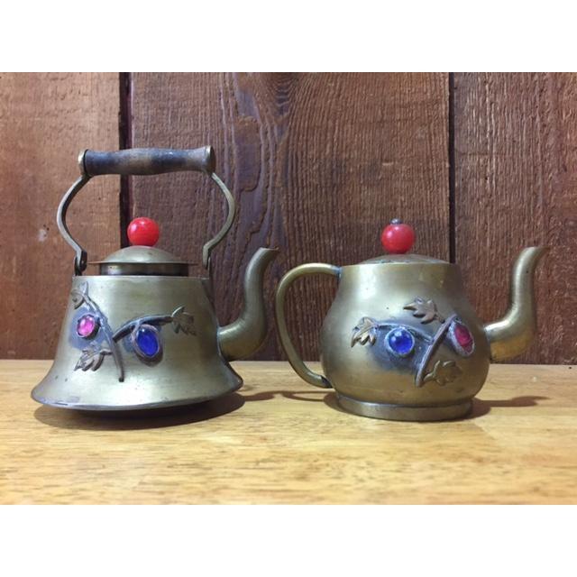 Vintage Brass Jeweled Tea Pots - A Pair - Image 3 of 9