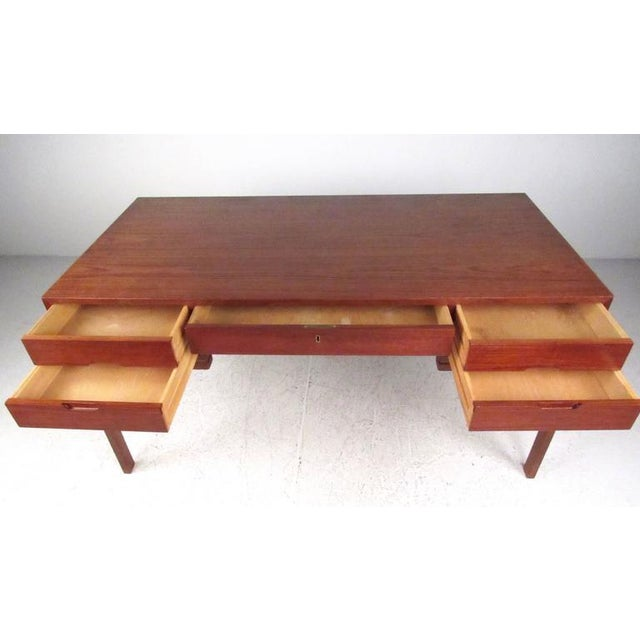 Mid-Century Modern Teak Double-Sided Desk For Sale In New York - Image 6 of 11