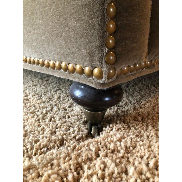 Metal 3 Seat Custom Natural Mohair Sofa For Sale - Image 7 of 11