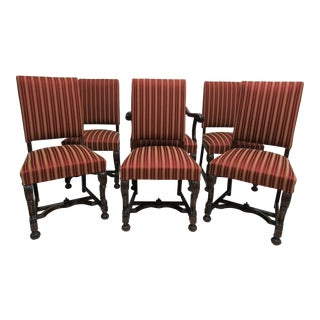 Antique Berkey Gay French Empire Walnut Dining Room Arm Chairs - Set of 6 For Sale