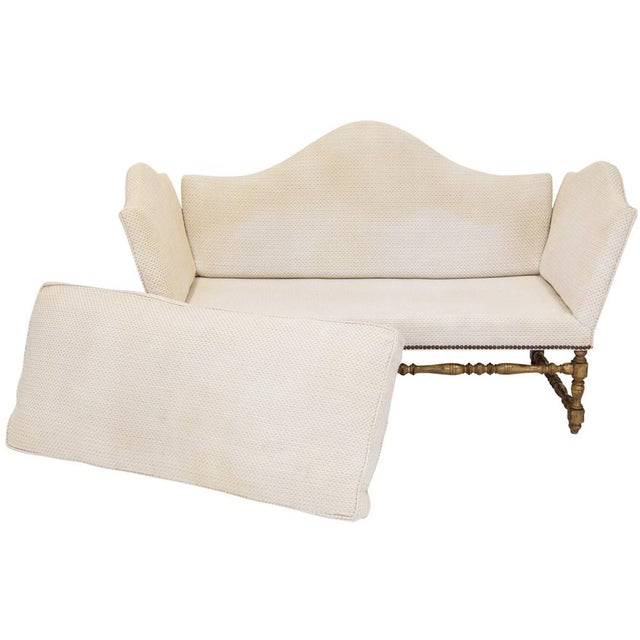 Brass Camelback Knole Sofa on Walnut Frame For Sale - Image 7 of 9