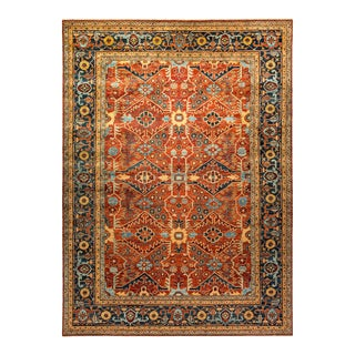 One-Of-A-Kind Oriental Serapi Hand-Knotted Area Rug, Crimson, 9' 2 X 12' 5 For Sale
