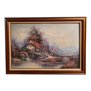 1970 Mountainside Cottage Landscape Oil Painting on Canvas by G. Whitman For Sale