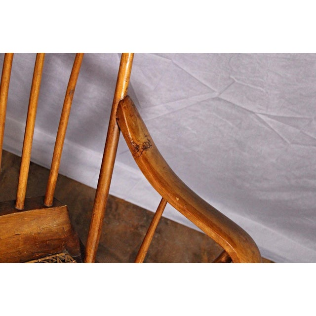 Spindle Back Caned Seat Rocking Chair For Sale - Image 4 of 11