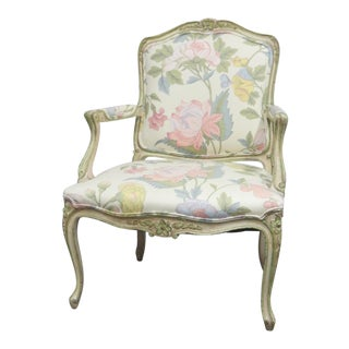 Louis XV Style Carved Cream Painted Chair For Sale