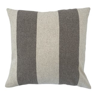 Italian FirmaMenta Eco-Friendly Brown and Cream Stripes Wool Pillow For Sale