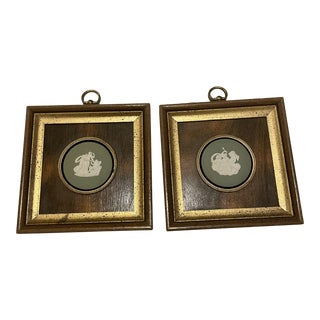 Late 20th Century Jasperware Style Medallions, Framed - a Pair For Sale